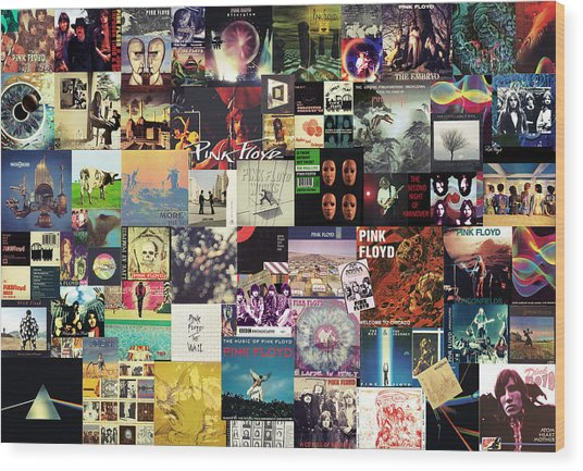Pink Floyd Collage I Wood Print
