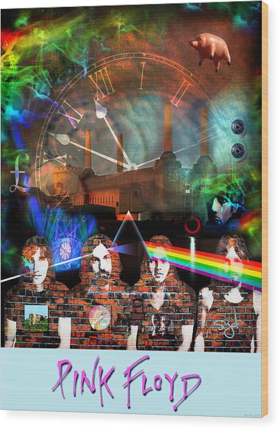 Pink Floyd Collage Wood Print