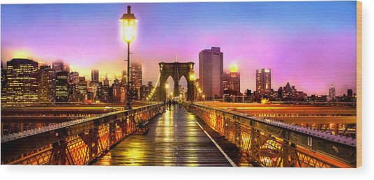 Pink Fog Of New York City Wood Print