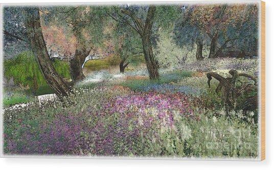 Pink Garden Wood Print