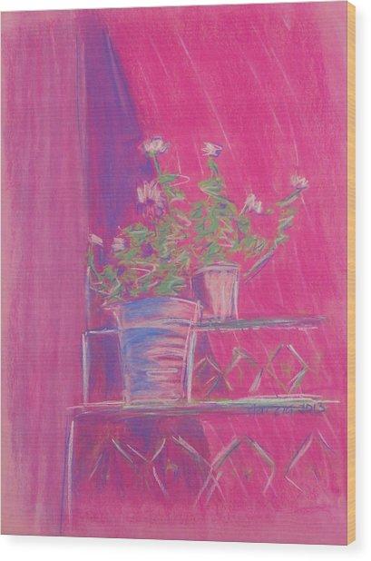 Pink Geraniums Wood Print by Marcia Meade