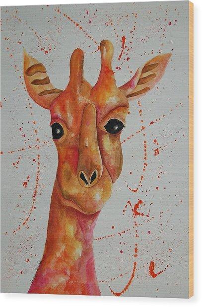 Pink Giraffe  Wood Print