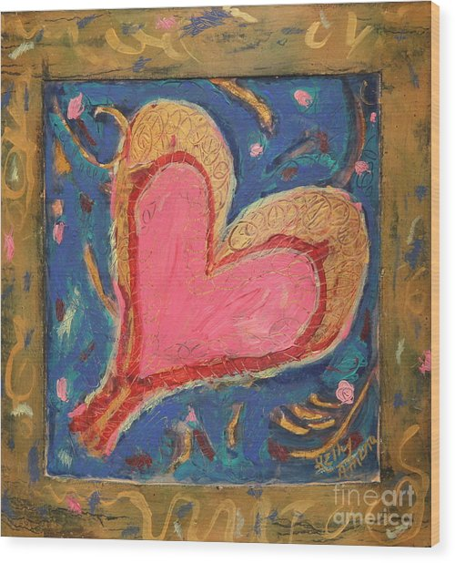 Pink Heart On Beveled Wood Wood Print by Kelly Athena