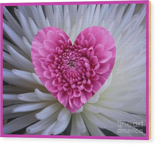 Pink Heart On White Wood Print