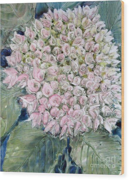 Pink Hydrangea Wood Print