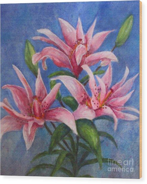 Pink Lilies Wood Print by Terri Maddin-Miller