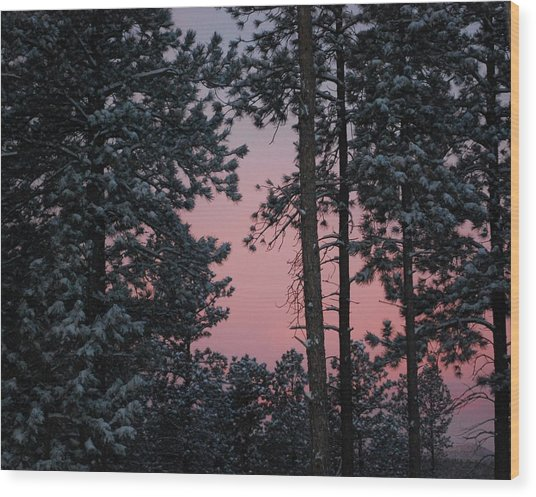 Pink Mountain Morning Wood Print