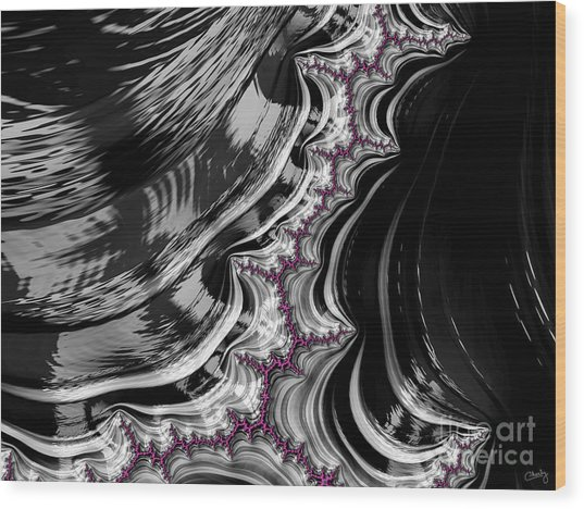 Pink On Black And White Fractal Abstract Wood Print
