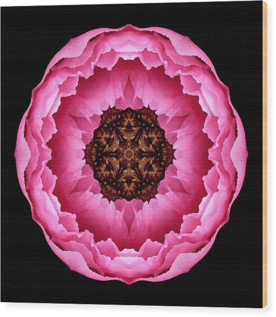 Pink Peony Flower Mandala Wood Print