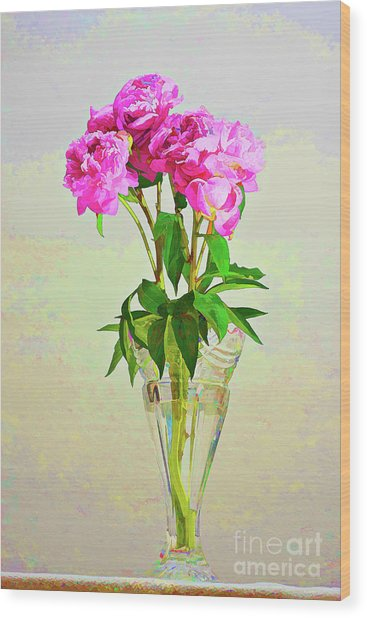 Pink Peony Flowers Wood Print
