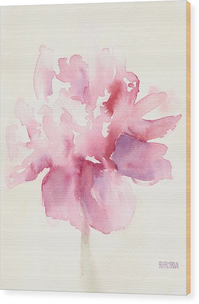 Pink Peony Watercolor Paintings Of Flowers Wood Print