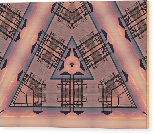 Pink Pier Kaleidoscope One Wood Print