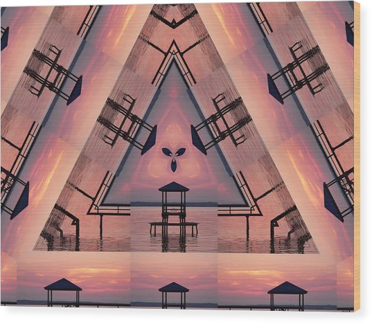Pink Pier Kaleidoscope Two  Wood Print