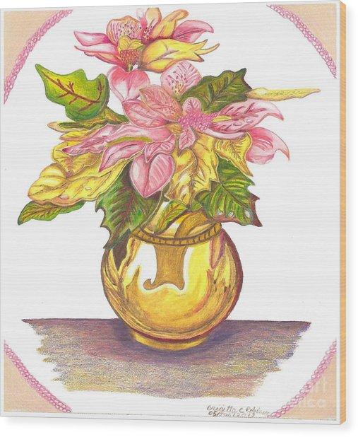 Pink Poinsettia Plant Wood Print