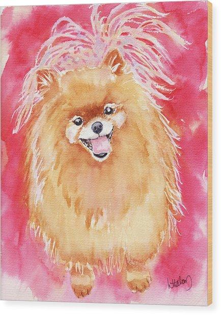 Pink Pom Wood Print