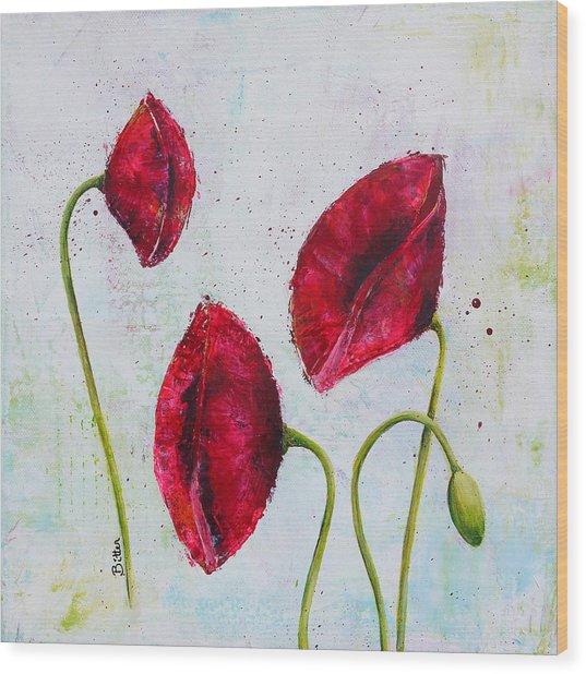 Pink Poppies 2 Wood Print by Bitten Kari