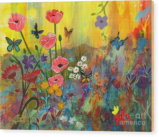 Pink Poppies In Paradise Wood Print