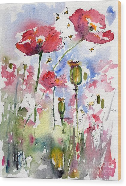 Pink Poppies Pods And Bees Watercolor By Ginette Wood Print