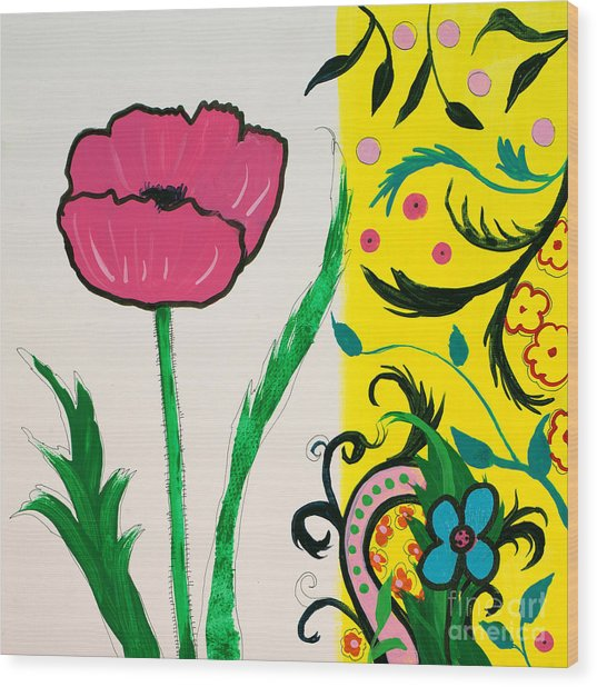 Pink Poppy And Designs Wood Print