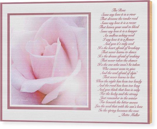 Pink Rose And Song Lyrics Wood Print