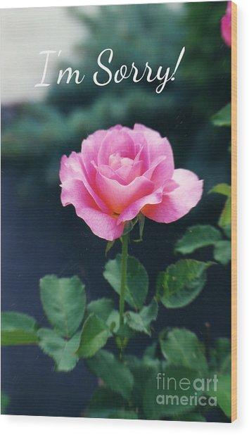 Pink Rose Greeting Card Wood Print by Ellen Stanton