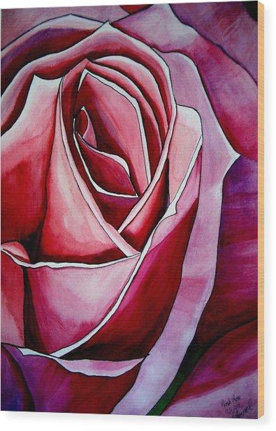 Pink Rose Macro Wood Print by Sacha Grossel
