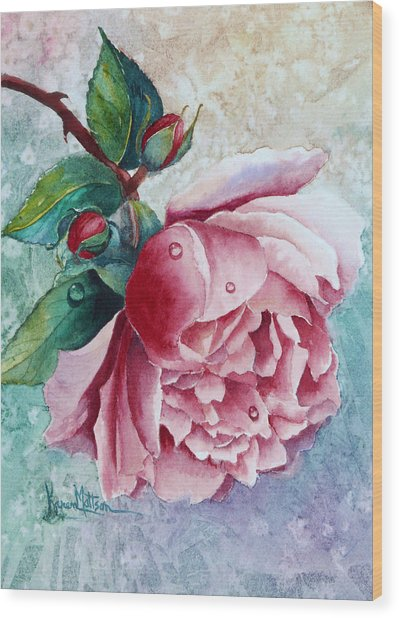 Pink Rose With Waterdrops Wood Print