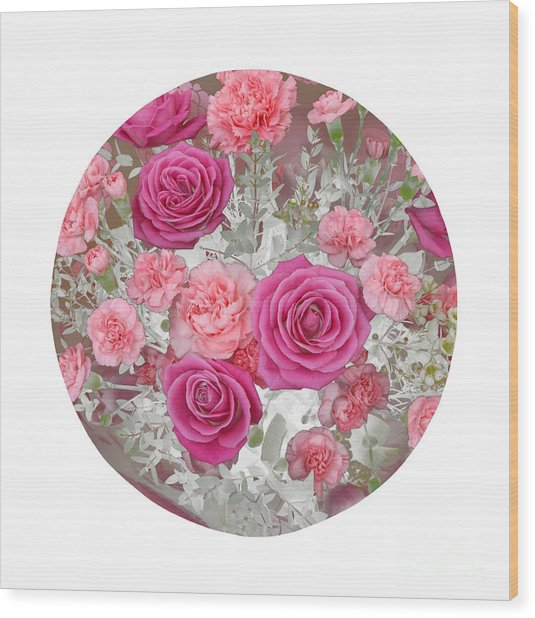 Pink Roses And Carnations In Circle Wood Print by Rosemary Calvert