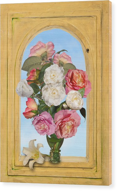 Pink Roses And White Peonis In Roemer In Open Niche Wood Print