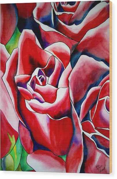 Pink Roses Wood Print by Sacha Grossel