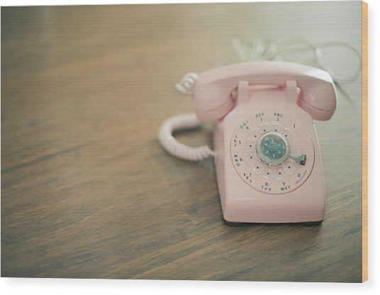 Pink Rotary Telephone Wood Print by Photo By Nicole Peattie, Photographer