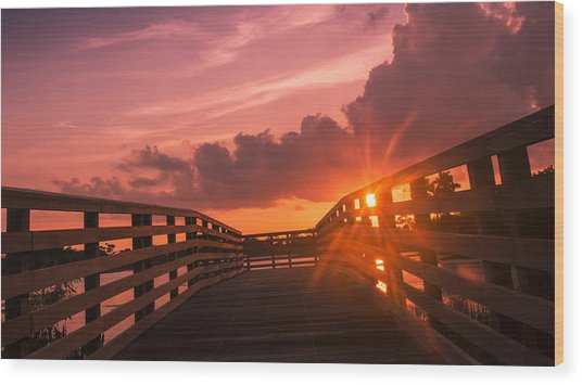 Pink Sky Sunset Wood Print