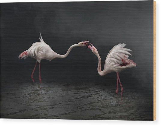 Pink Strategy Wood Print by Martine Benezech