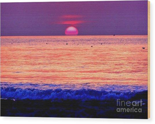 Pink Sun Wood Print