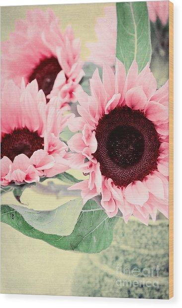 Pink Sunflowers Wood Print