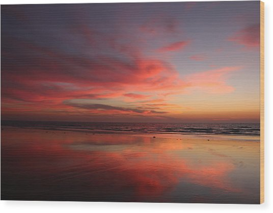 Ocean Sunset Reflected  Wood Print