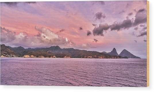 Pink Sunset Cast On The Pitons In St. Lucia Wood Print