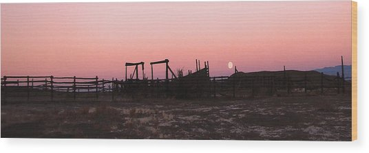 Pink Sunset Over Corral Wood Print