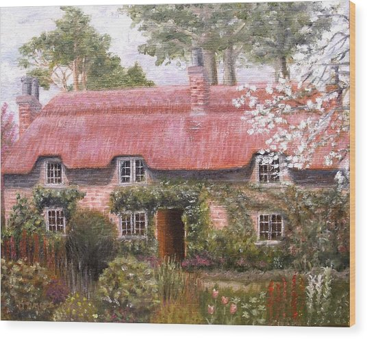 Pink Thatched Cottage Wood Print by Diane Daigle