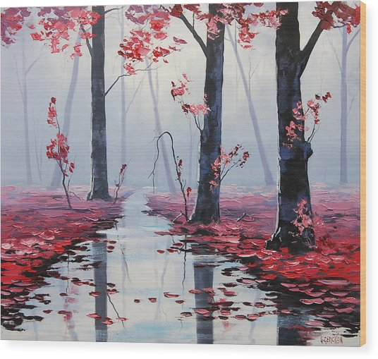 Pink Trees River Landscape Wood Print