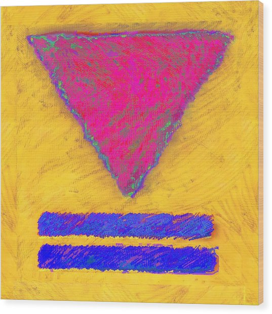 Pink Triangle On Yellow Wood Print