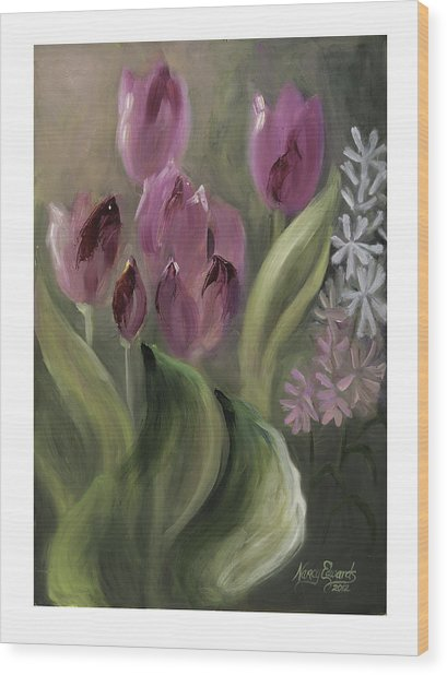 Pink Tulips Wood Print by Nancy Edwards