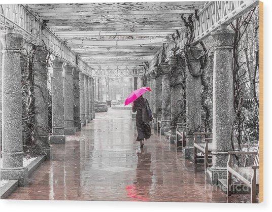 Pink Umbrella In A Storm Wood Print