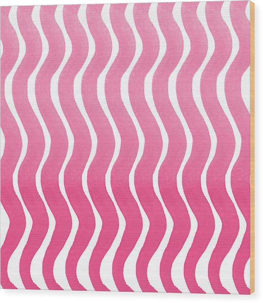 Pink Waves- Abstract Watercolor Pattern Wood Print