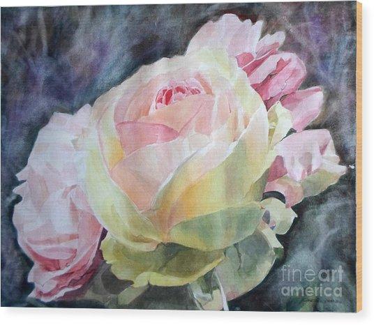 Pink Yellow Rose Angela Wood Print