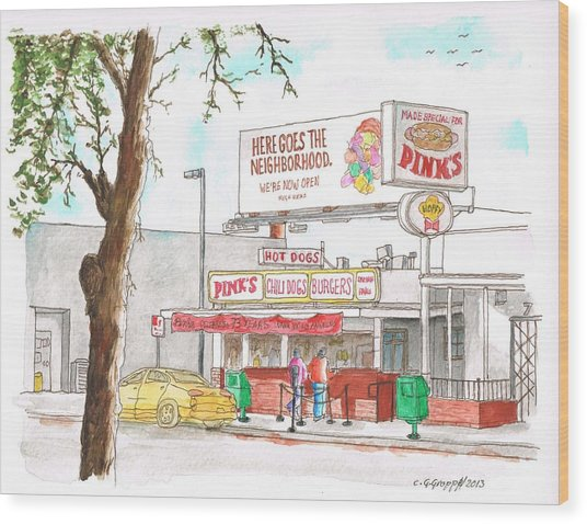 Pinks Chili Dogs, Hollywood, California Wood Print