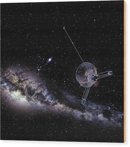Pioneer Spacecraft In Interstellar Space Wood Print by Nasa