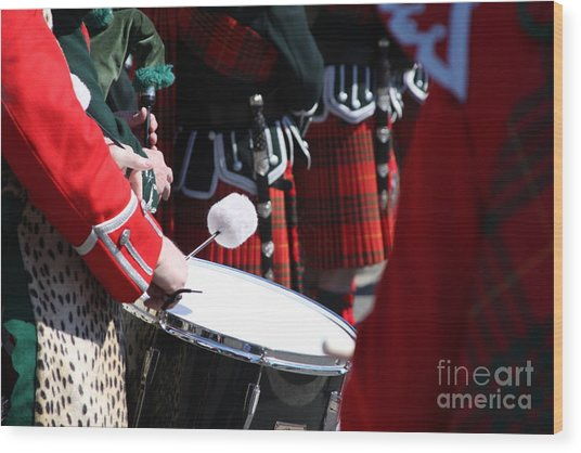 Pipe And Drums Wood Print