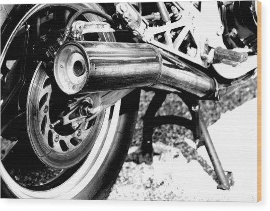 Pipe Black And White Wood Print