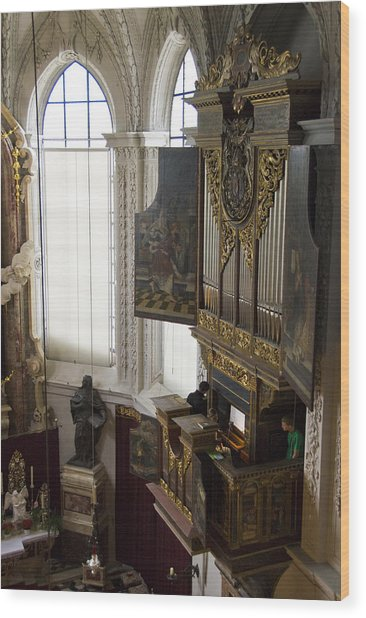 Pipe Organ Stall In Hofkirche (court Church). Wood Print by Dennis K. Johnson